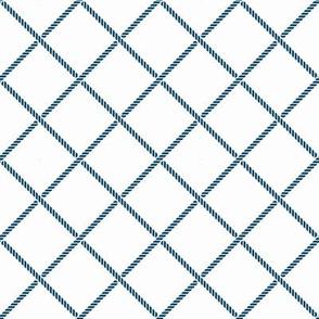 Nautical rope, blue and white.