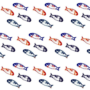 Tiny fish in red, white and blue