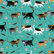 cats (smaller) all houses magic wizard school cat fabric teal