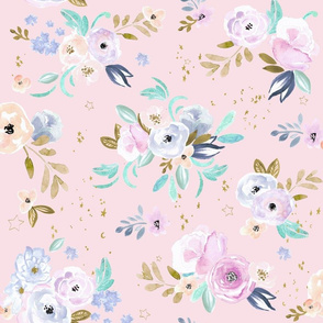 twilight floral and stars-blush