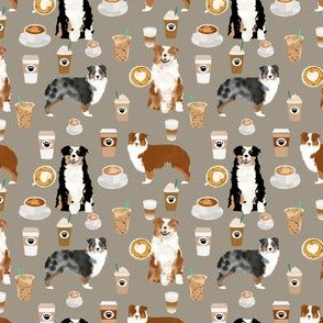 australian shepherd (smaller scale) coffee fabric - aussie dogs mixed coats and coffees - med. brown