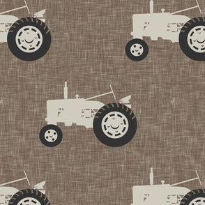 tractors on brown linen - farm life - farm patchwork fabric - browns coordinate C18BS