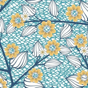 Blue and Yellow Flowers on Netting for Leggings