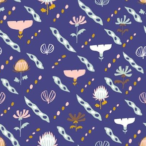 Night Garden Blooms-indigo and pink