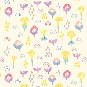 Sunshine Garden-ditsy geometric floral with rainbows
