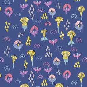 Geometric floral ditsy print indigo