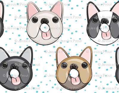 (small scale) Frenchie - French Bulldog donuts (blue dots)