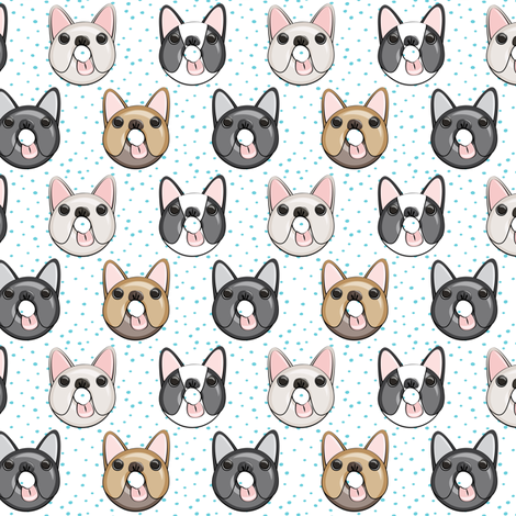 (small scale) Frenchie - French Bulldog donuts (blue dots) fabric by littlearrowdesign on Spoonflower - custom fabric