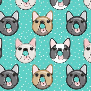 Frenchie - French Bulldog donuts (teal w/dots)