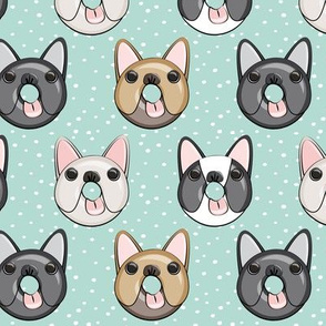 Frenchie - French Bulldog donuts (dark aqua w/dots)