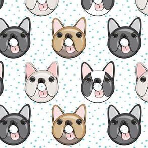 Frenchie - French Bulldog donuts (blue dots)