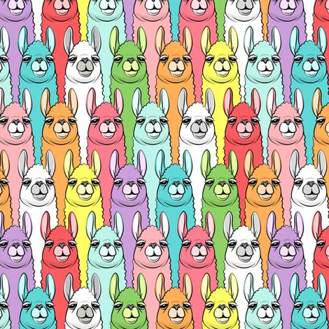 "(1"" scale) rainbow llamas fabric by littlearrowdesign on Spoonflower - custom fabric"
