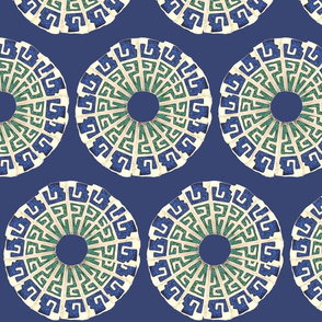 Aztec Medallions on Rich Blue