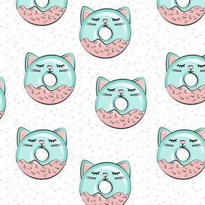 cat donuts - teal and pink with dots