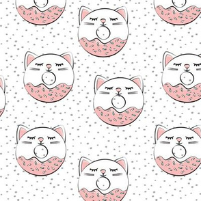 cat donuts - white and pink on dots