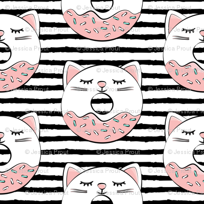 cat donuts - white on black stripes