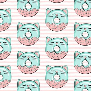 cat donuts - teal on pink stripes