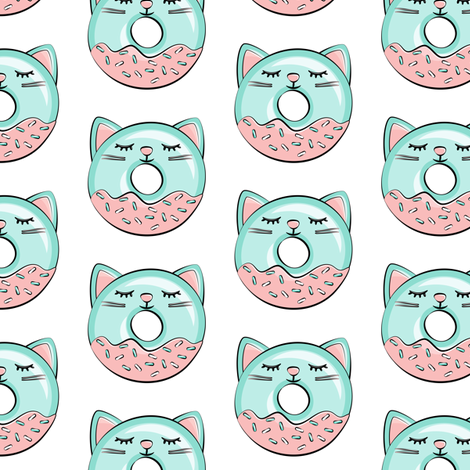 cat donuts - teal  fabric by littlearrowdesign on Spoonflower - custom fabric