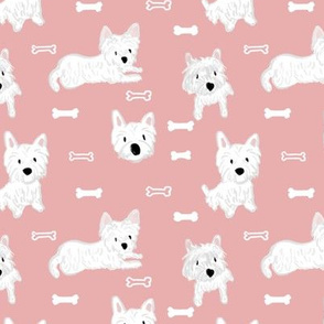 Westie and bone- West highland terrier dog breed in pink