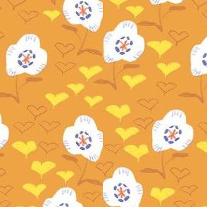 Poppy and ginkgo in brown- fall leave and floral