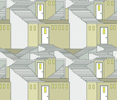 bauhaus style houses and stairs fabric by palusalu on Spoonflower - custom fabric