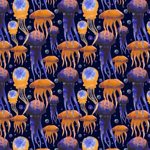 Watercolor hand painted sea pattern with jellyfish.