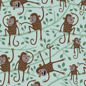 Monkey Jungle Tree stone green