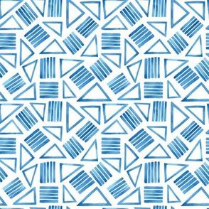 Blue White Triangle Geometric