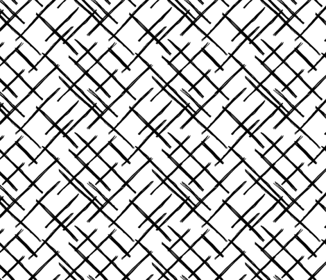 abstract geometric raster checkered diagonal stripes stroke and Blue Grid Paper abstract geometric raster checkered diagonal stripes stroke and lines trend pattern grid black white fabric littlesmilemakers spoonflower