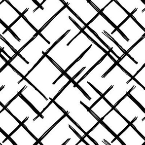 Abstract geometric raster checkered diagonal stripes stroke and lines trend pattern grid black white