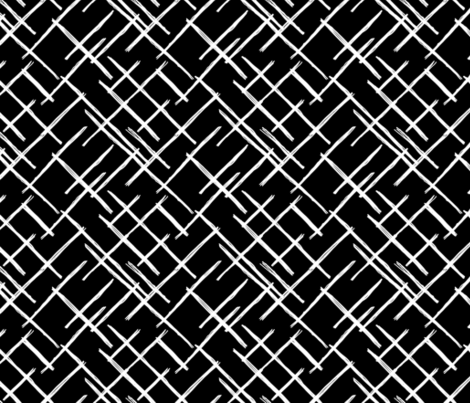 Abstract geometric raster checkered diagonal stripes stroke and lines trend pattern grid black white fabric by littlesmilemakers on Spoonflower - custom fabric