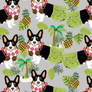 tricolored corgi hula tropical hawaii dog breed fabric grey