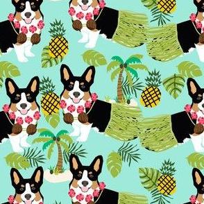 tricolored corgi hula tropical hawaii dog breed fabric minty