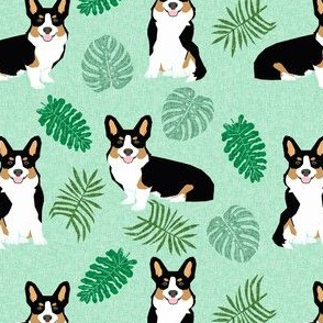 tricolored corgi monstera tropical palm leaves dog breed fabric minty