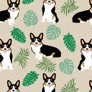 tricolored corgi monstera tropical palm leaves dog breed fabric tan