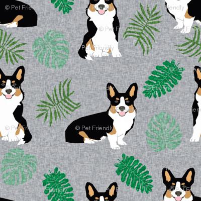 tricolored corgi monstera tropical palm leaves dog breed fabric grey