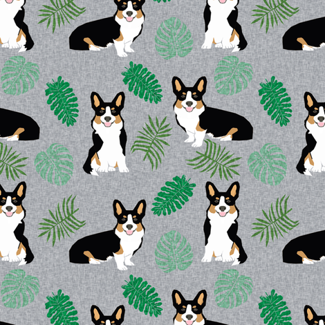 tricolored corgi monstera tropical palm leaves dog breed fabric grey fabric by petfriendly on Spoonflower - custom fabric