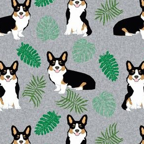 tricolored corgi monstera tropical palm leaves dog breed fabric grey
