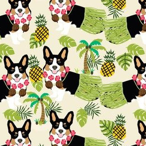 tricolored corgi hula tropical hawaii dog breed fabric beige