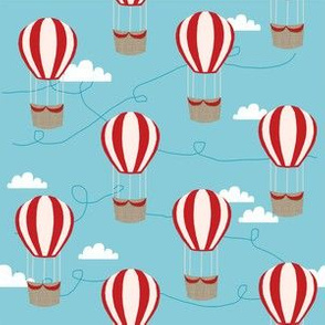 hot air balloons with clouds fabric nursery baby med blue