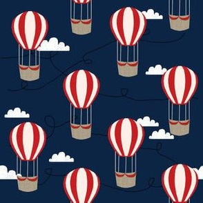 hot air balloons with clouds fabric nursery baby dark