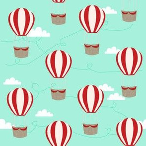 hot air balloons with clouds fabric nursery baby mint