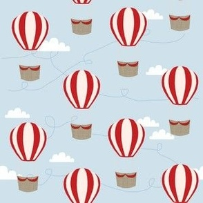 hot air balloons with clouds fabric nursery baby blue