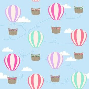 hot air balloons with clouds fabric nursery baby light blue