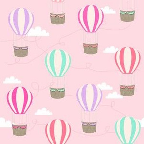 hot air balloons with clouds fabric nursery baby pink