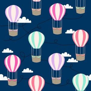 hot air balloons with clouds fabric nursery baby navy