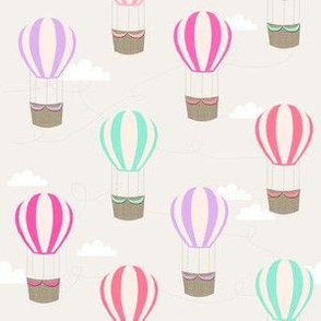 hot air balloons with clouds fabric nursery baby light grey