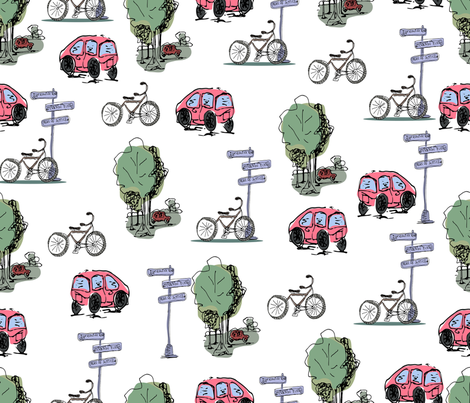 Cars and bicycles fabric by trishamcmillan on Spoonflower - custom fabric