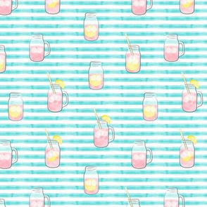 (small scale) pink lemonade  w/ straws - summer time drinks on blue  stripes