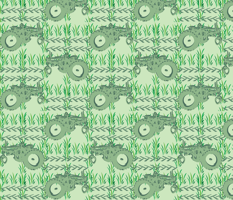 Vintage Tractor mowing fabric by krystalsavage on Spoonflower - custom fabric